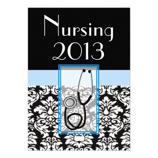 Nurse Graduation Graduation Invitations Damask 2