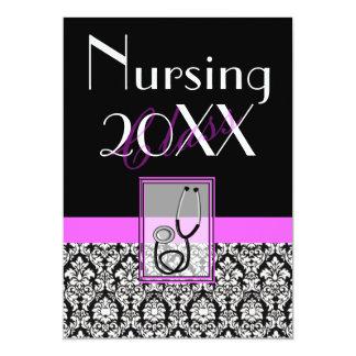 Nurse Graduation Graduation Invitations Damask III