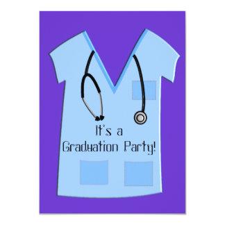 Nurse Graduation Invitations Blue Scrub Top