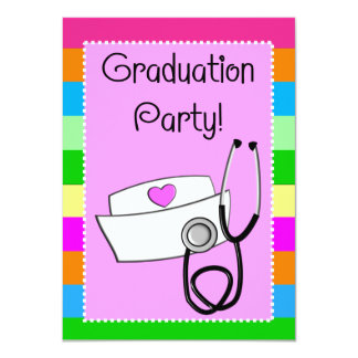 Nurse Graduation Invitations Bright Stripes