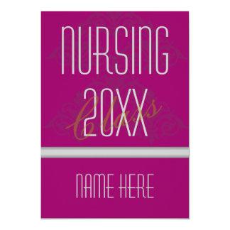 Nurse Graduation Invitations Damask Fuschia 20XX