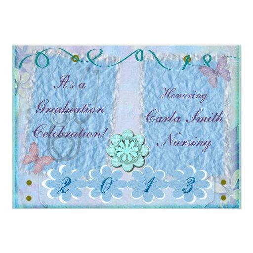 Nurse Graduation Invitations Feminine Blue
