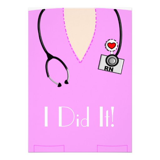 Nurse Graduation  Invitations Pink