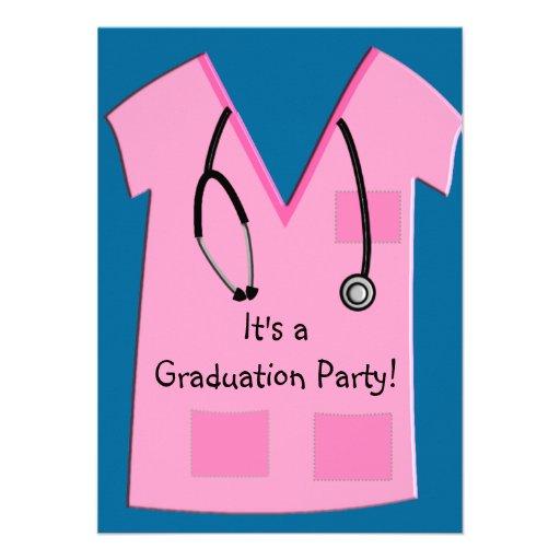 Nurse Graduation Invitations Pink Scrub Top