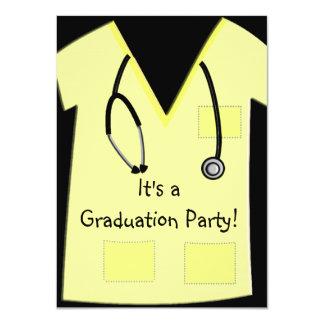 Nurse Graduation Invitations Yellow Scrub Top