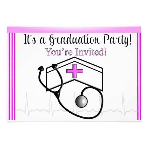 Nurse Graduation Party Invitations Pink