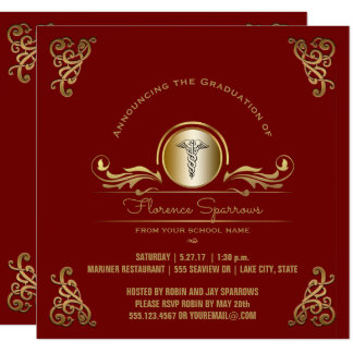 Nurse Graduation Party | Red Gold Pinning Ceremony Card