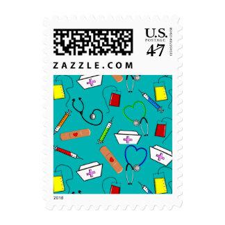 Nurse Graduation Postage Stamps Blue