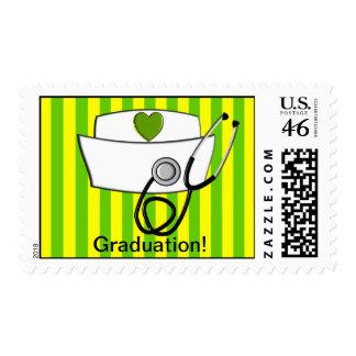 Nurse Graduation Postage Stamps Citrus Stripes