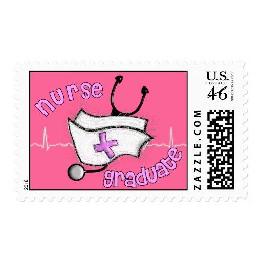 Nurse Graduation Postage Stamps (Pink)