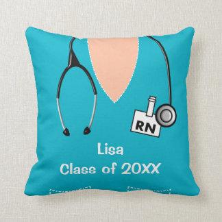 Nurse Graduation Scrub Top Pillow blue