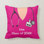 Nurse Graduation Scrub Top Pillow Magenta