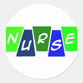 Nurse - Green Blue Classic Round Sticker