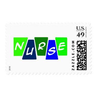 Nurse - Green Blue Postage