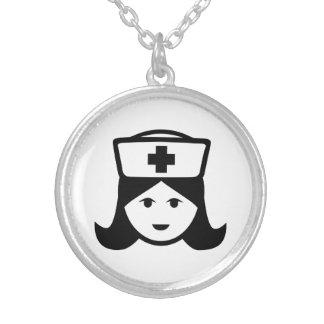 Nurse head face round pendant necklace