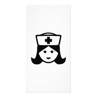 Nurse head face photo card