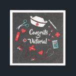 "Nurse icons graduation party napkins<br><div class=""desc"">Nurse icons graduation party paper napkins</div>"