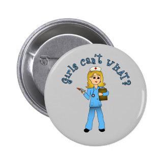 Nurse in Blue Scrubs Blonde Pinback Buttons