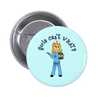 Nurse in Blue Scrubs Blonde Buttons