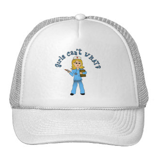 Nurse in Blue Scrubs (Blonde) Trucker Hat