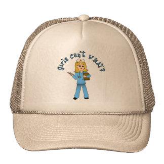 Nurse in Blue Scrubs (Blonde) Hat