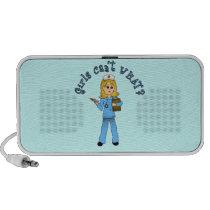Nurse in Blue Scrubs (Blonde) iPod Speakers