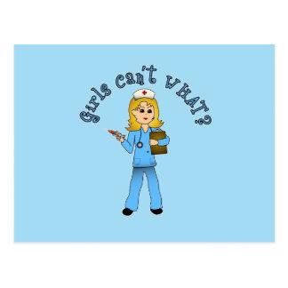 Nurse in Blue Scrubs (Blonde) Postcards