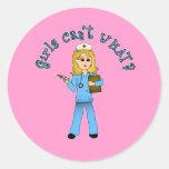 Nurse in Blue Scrubs (Blonde) Sticker