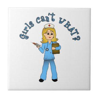 Nurse in Blue Scrubs (Blonde) Tile