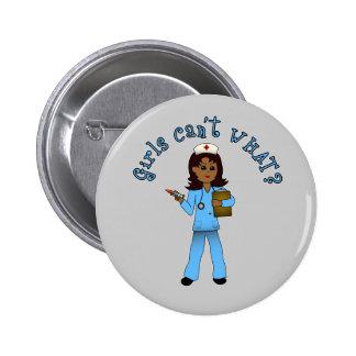 Nurse in Blue Scrubs Dark Pinback Buttons