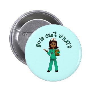 Nurse in Blue Scrubs Dark Buttons