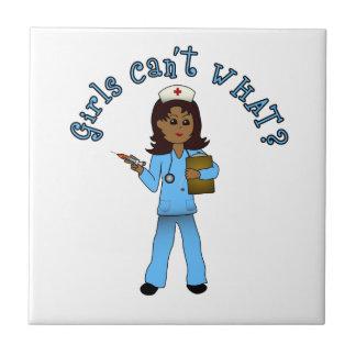 Nurse in Blue Scrubs (Dark) Ceramic Tile