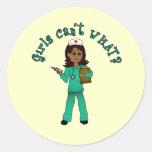 Nurse in Blue Scrubs (Dark) Classic Round Sticker
