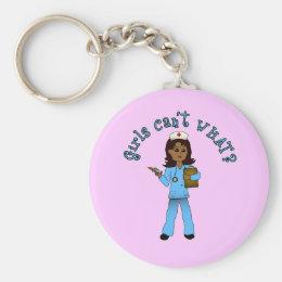 Nurse in Blue Scrubs (Dark) Keychain