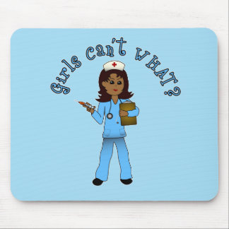 Nurse in Blue Scrubs (Dark) Mouse Pad