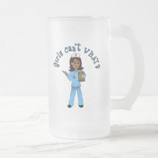 Nurse in Blue Scrubs (Dark) 16 Oz Frosted Glass Beer Mug