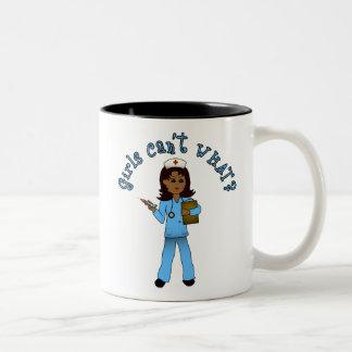 Nurse in Blue Scrubs (Dark) Two-Tone Coffee Mug