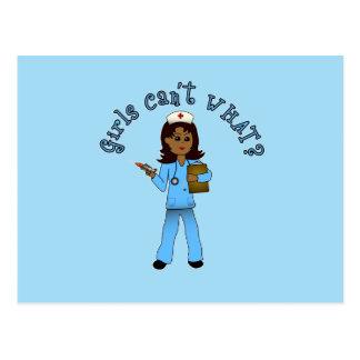 Nurse in Blue Scrubs (Dark) Postcard