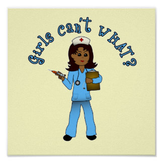Nurse in Blue Scrubs (Dark) Print