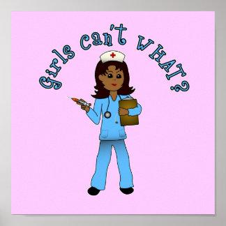 Nurse in Blue Scrubs (Dark) Posters