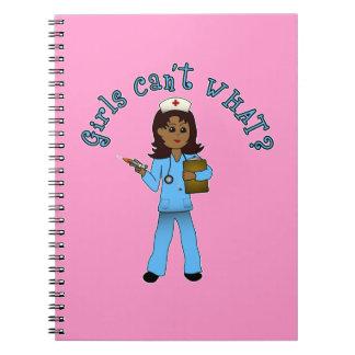 Nurse in Blue Scrubs (Dark) Spiral Notebook