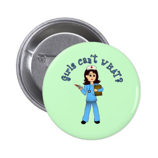 Nurse in Blue Scrubs Light Pinback Buttons
