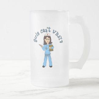 Nurse in Blue Scrubs (Light) 16 Oz Frosted Glass Beer Mug