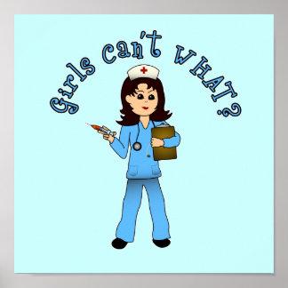 Nurse in Blue Scrubs (Light) Posters