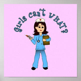 Nurse in Blue Scrubs (Light) Print