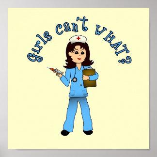 Nurse in Blue Scrubs (Light) Poster