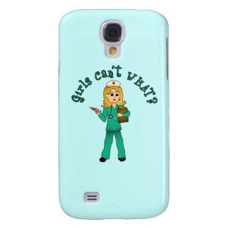 Nurse in Green Scrubs (Blonde) Samsung Galaxy S4 Cover