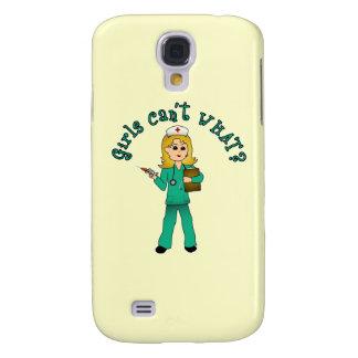 Nurse in Green Scrubs (Blonde) Galaxy S4 Covers