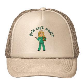 Nurse in Green Scrubs (Blonde) Trucker Hat