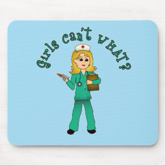 Nurse in Green Scrubs (Blonde) Mouse Pad